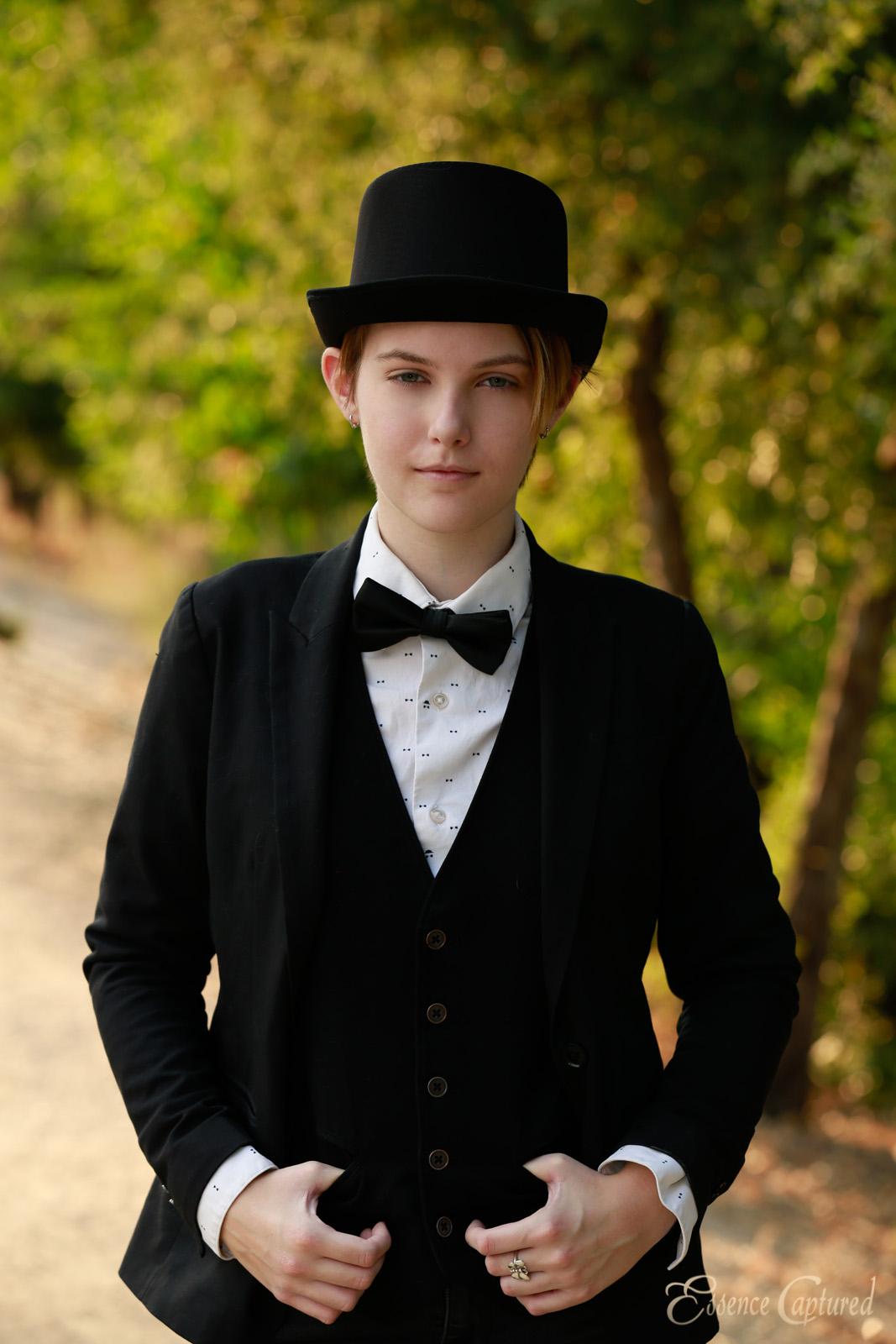 senior portrait female suit vest jacket bow tie top hat