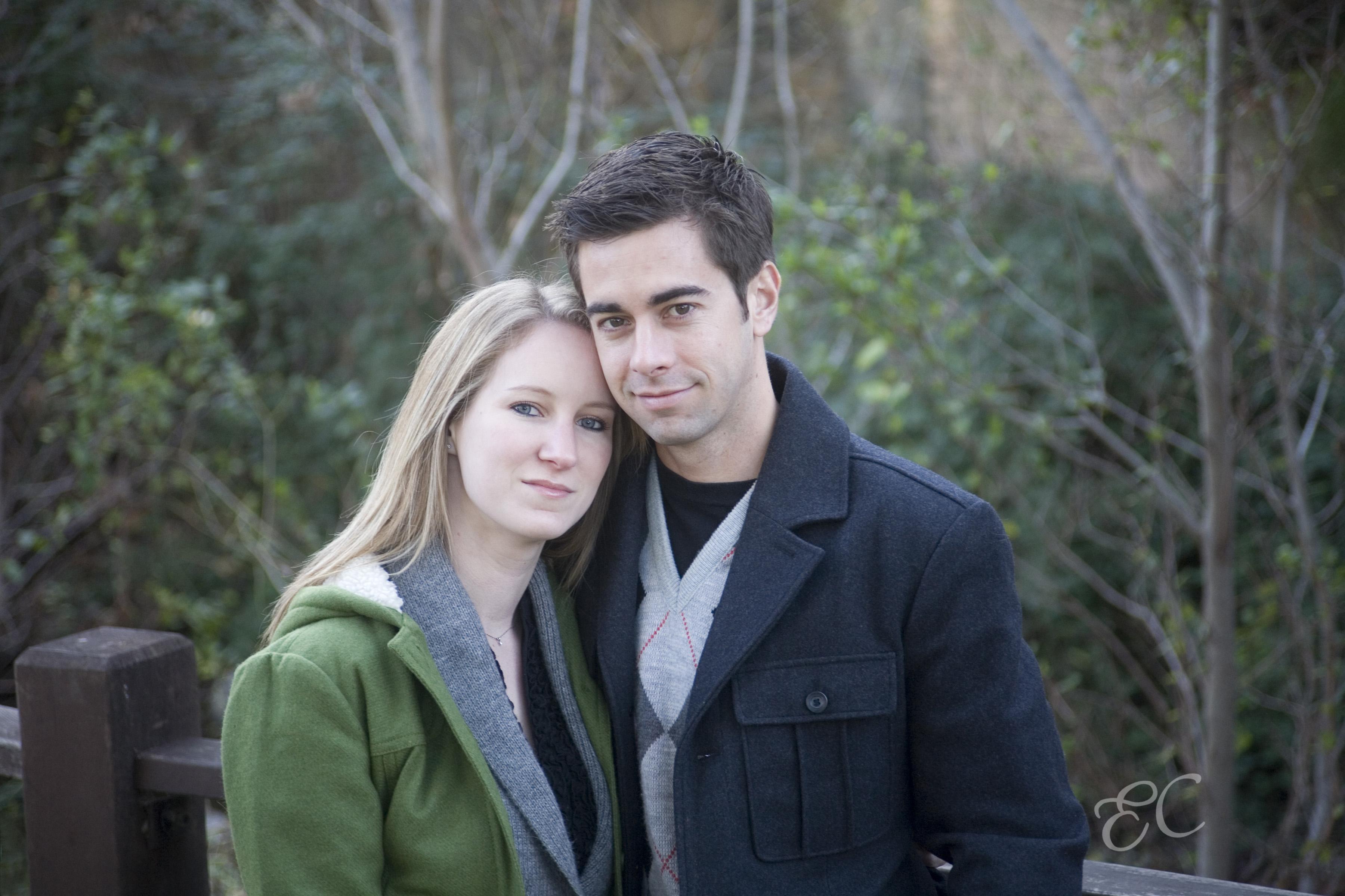 engagement portrait couple winter woman blonde man brown hair outdoor
