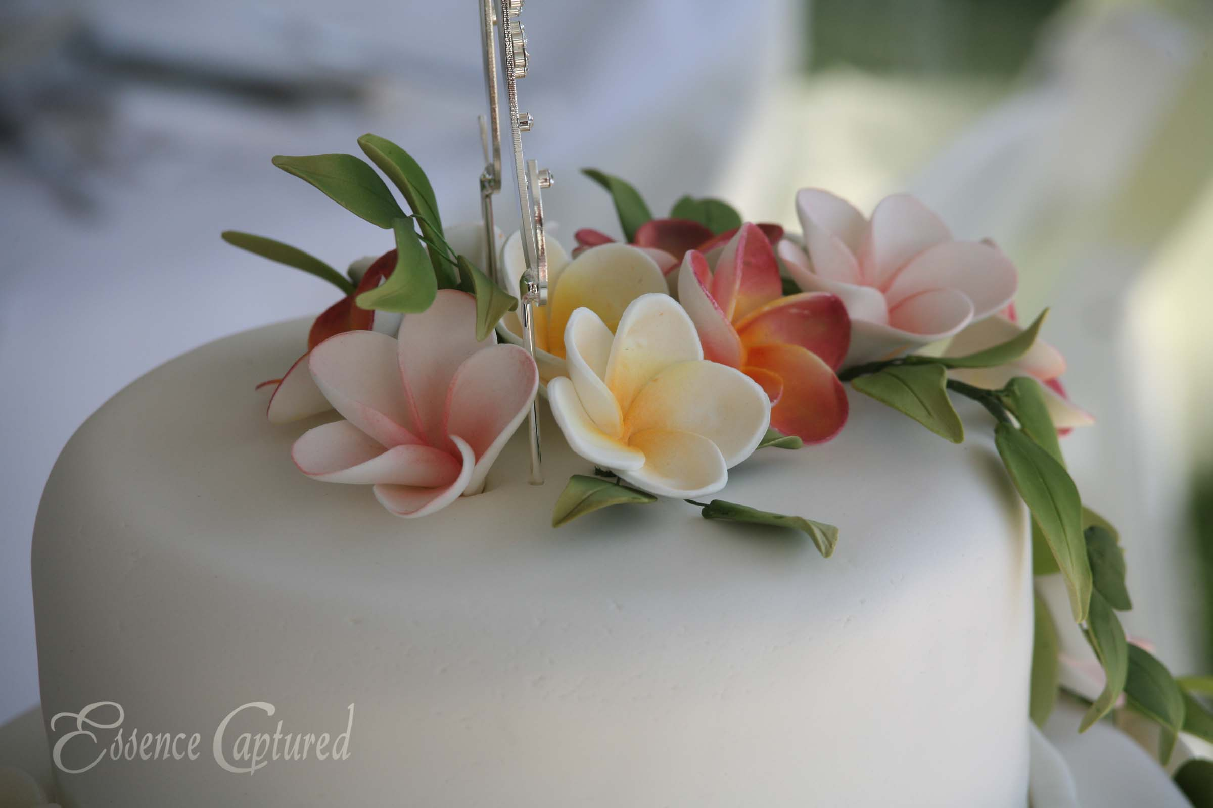 wedding cake with plumeria flowers on top