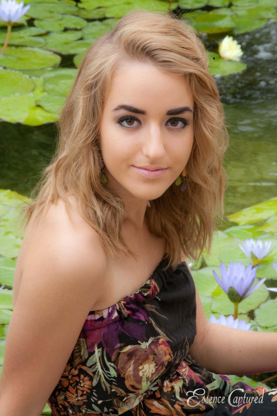 lily pads lotus flower high school senior portrait female