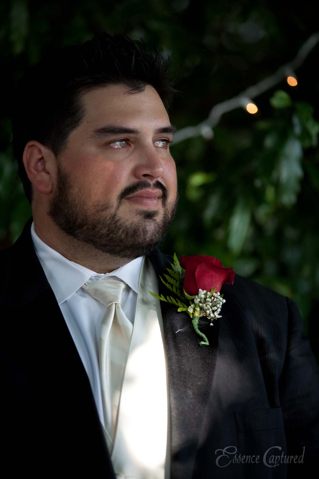 groom with teary eyes of joy at wedding