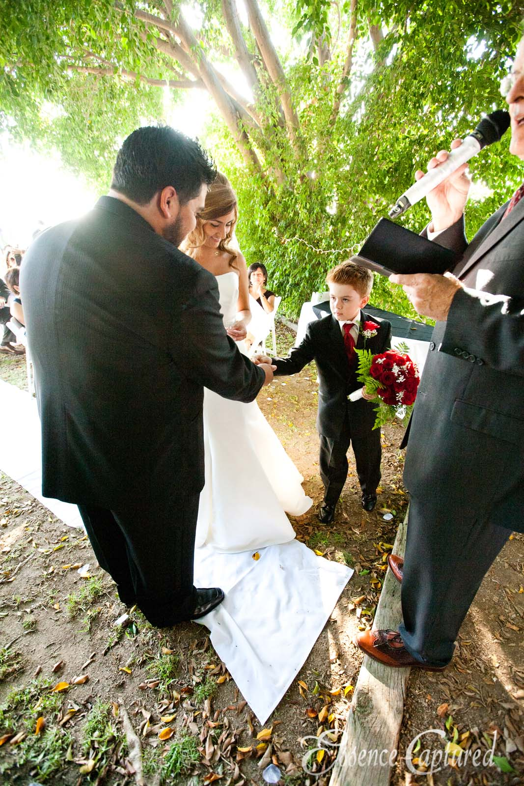 ring bearer hands ring to groom at wedding alter
