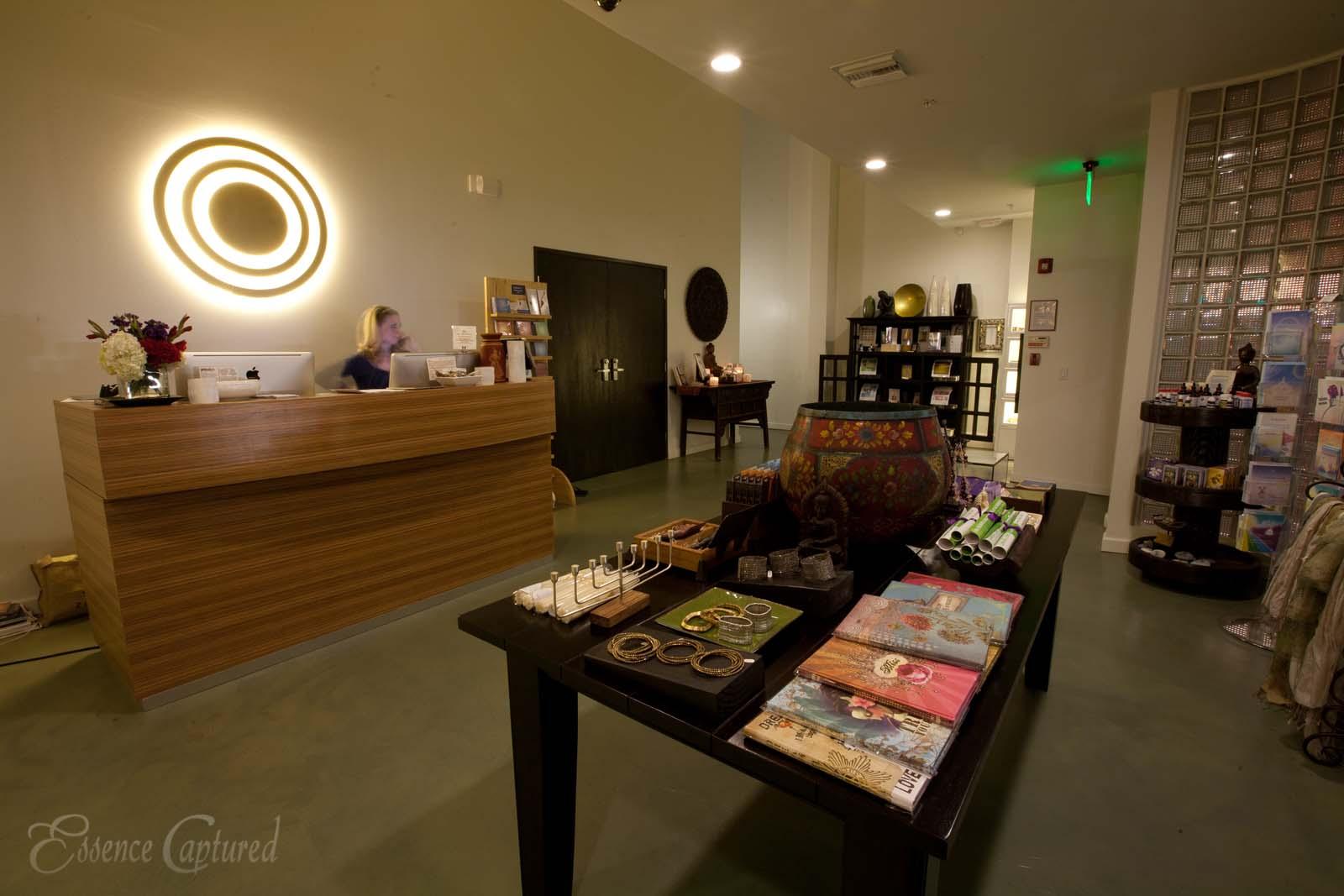 Naam Yoga L.A. lobby at night