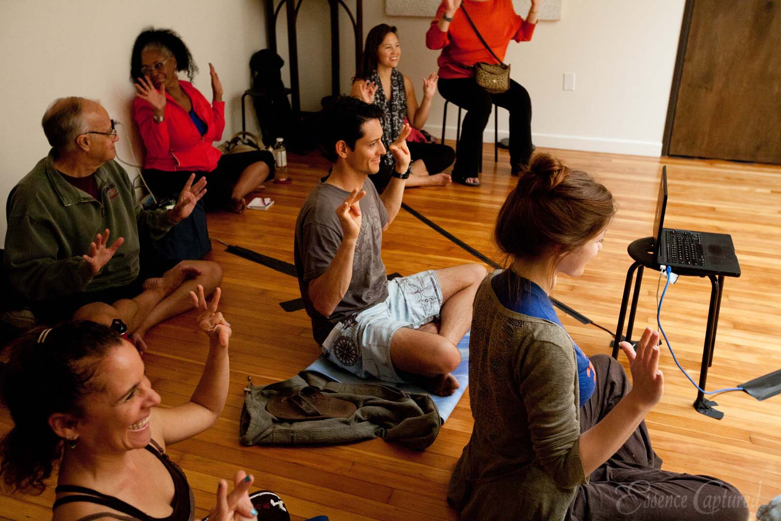 students in class learning yoga mudras at Naam Yoga L.A.