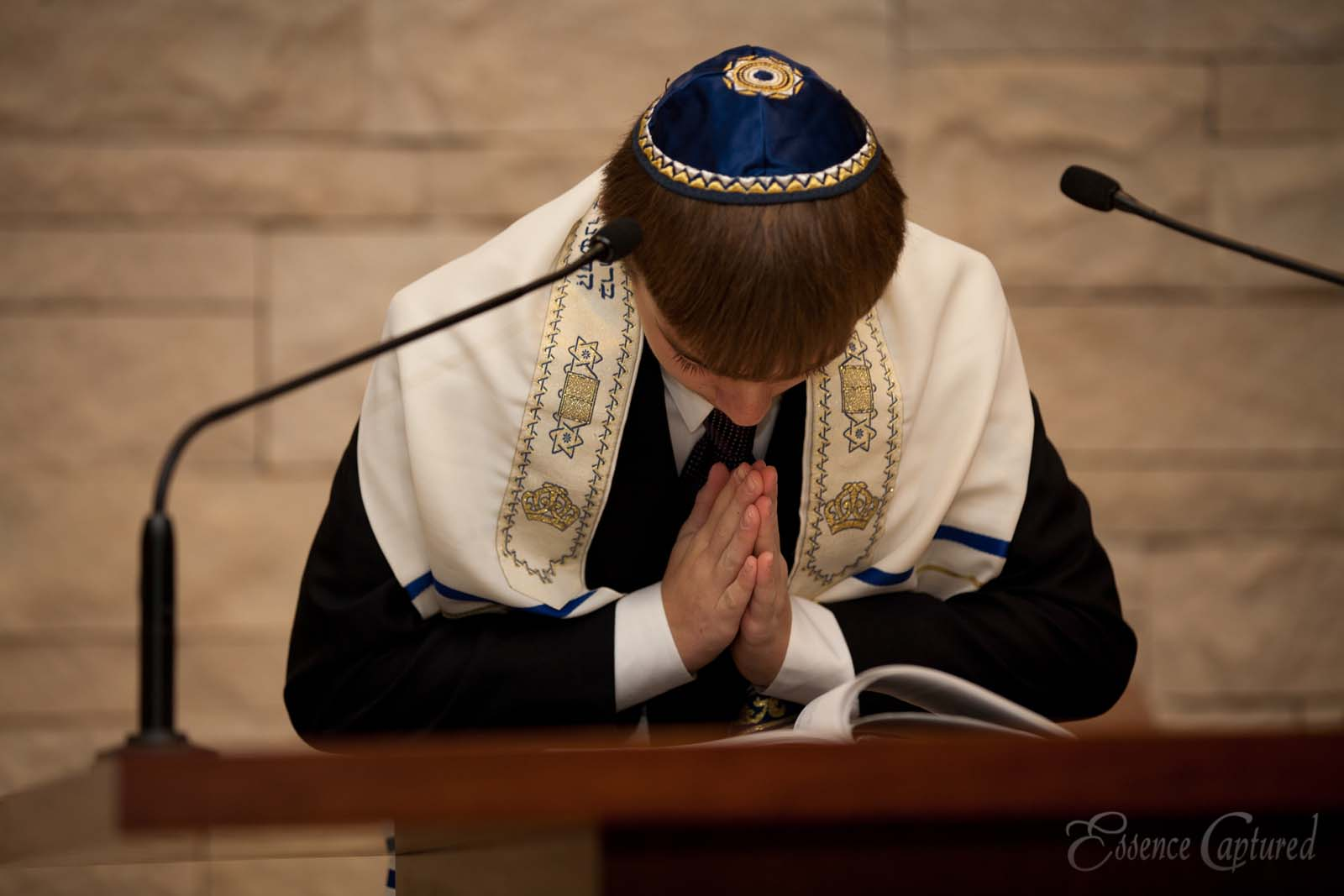 boy in prayer at Bar Mitzvah