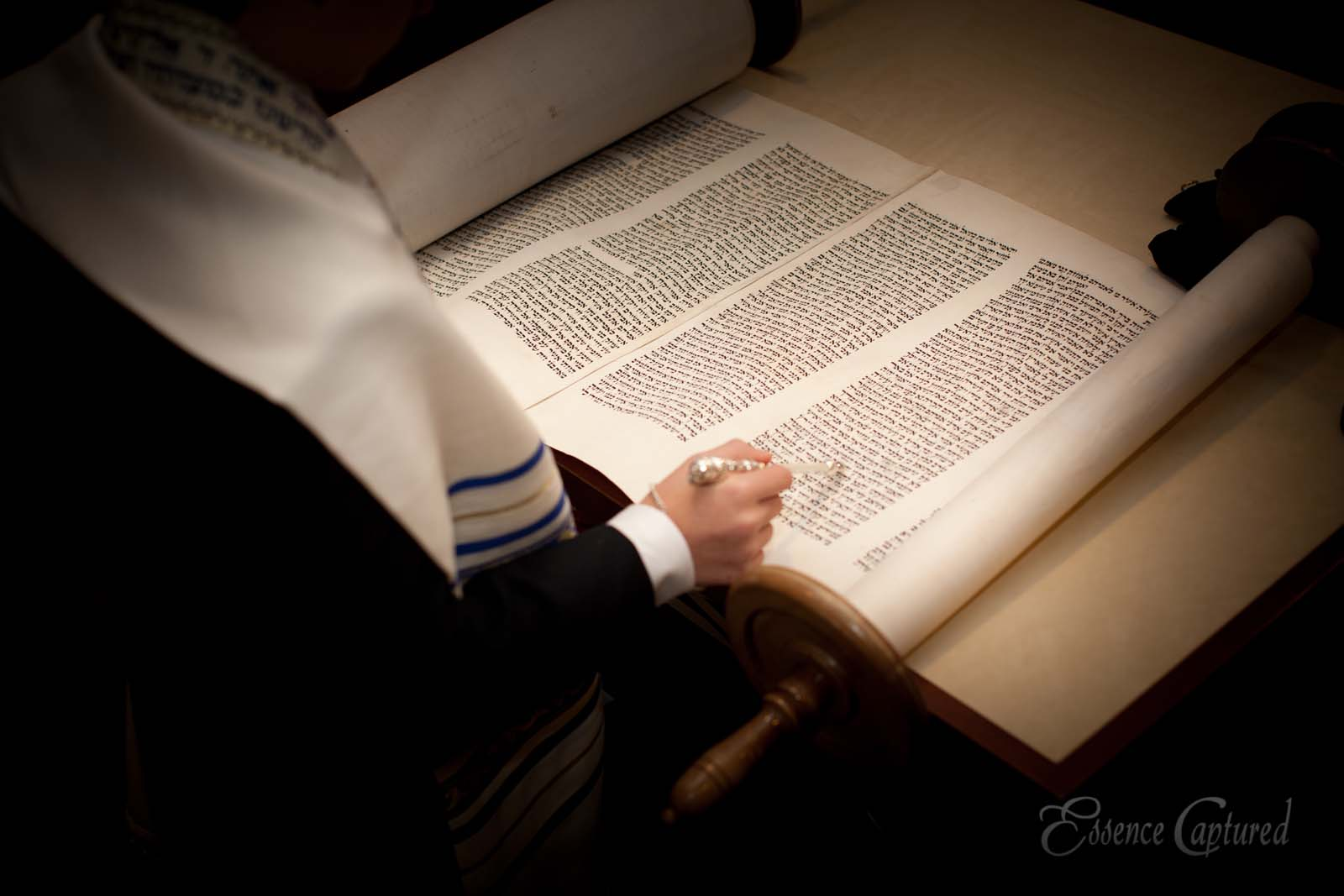 boy reading from scroll at Bar Mitzvah