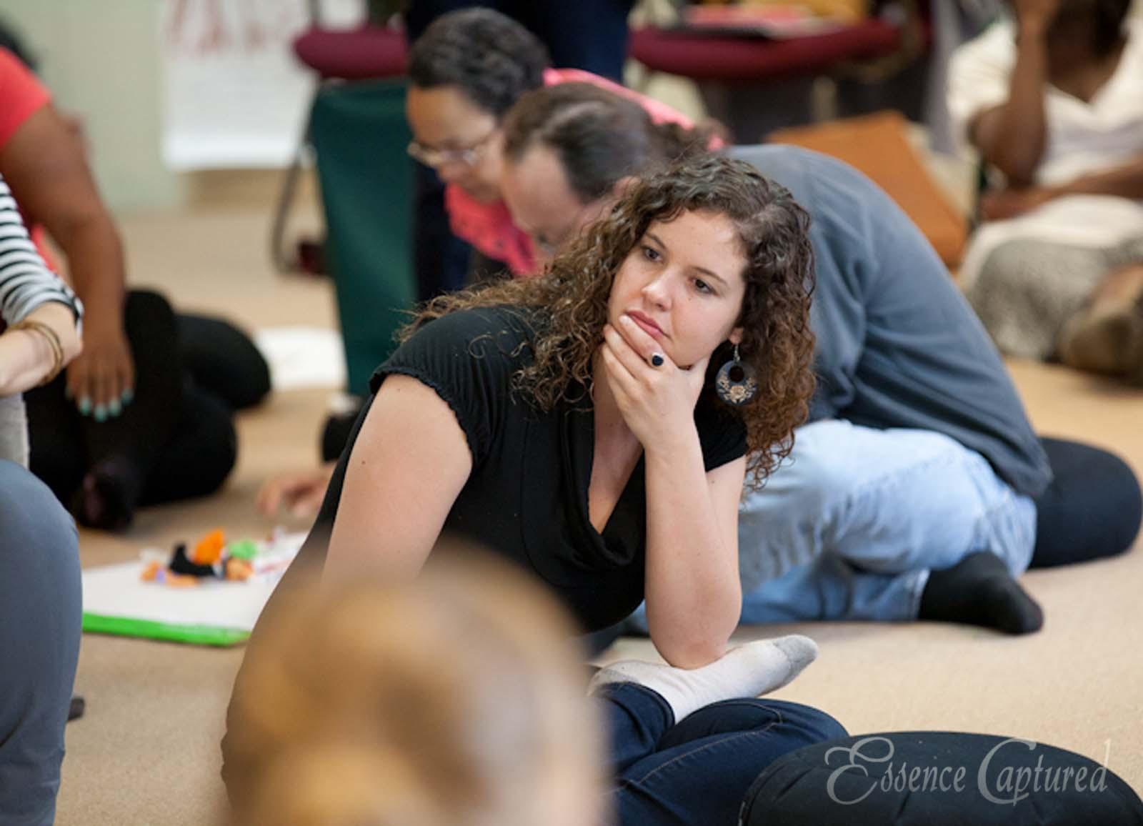Andrea deep in thought at Art of Hosting Petaluma Earthrise