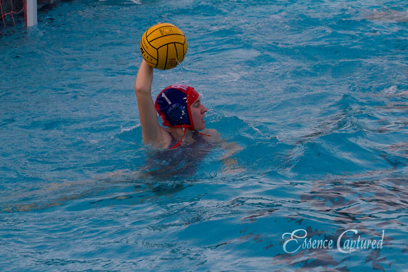girls water polo holding ball