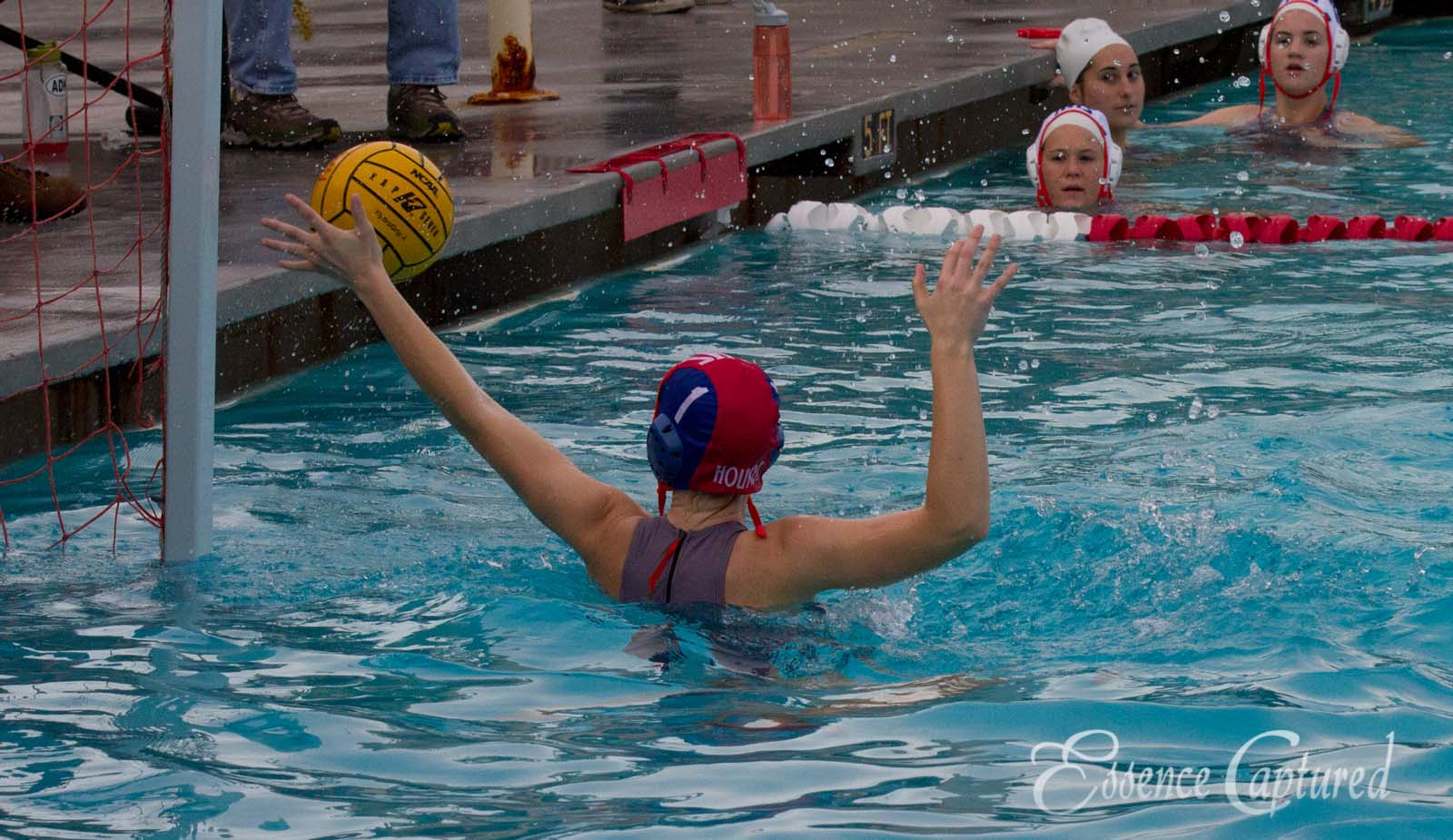 girls water polo defending goal