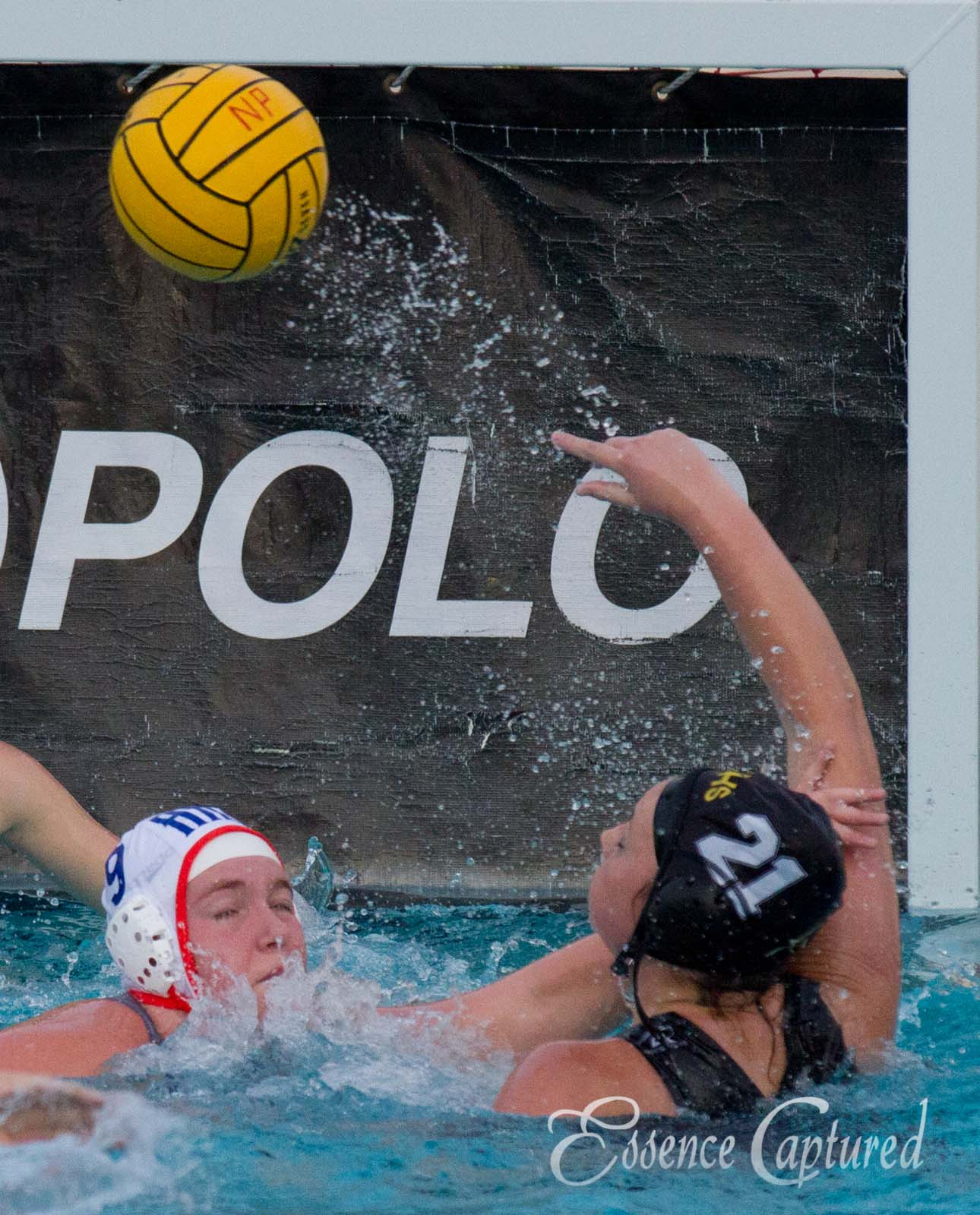 girls water polo defending goal action