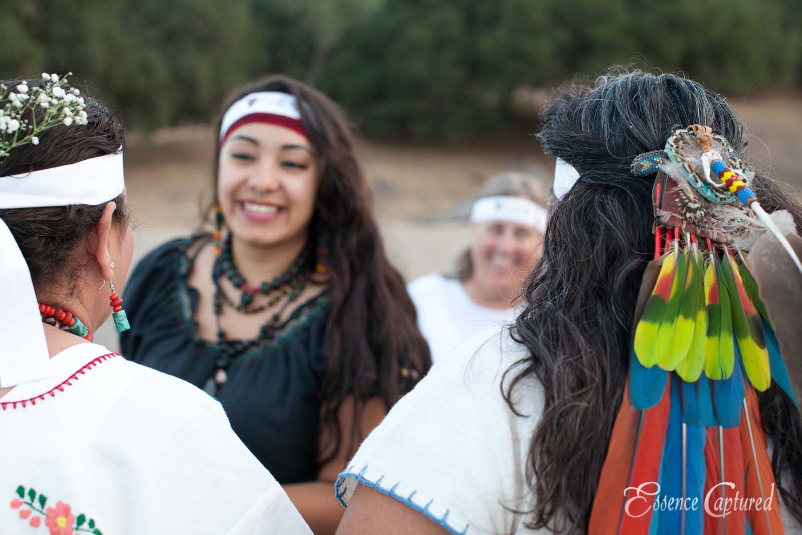 Long Dance 2014 ceremonial dress Mexica sisters feathers in hair