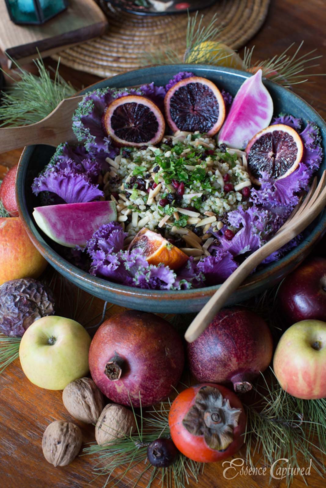 colorful summer salad in bowl purples greens blood orange