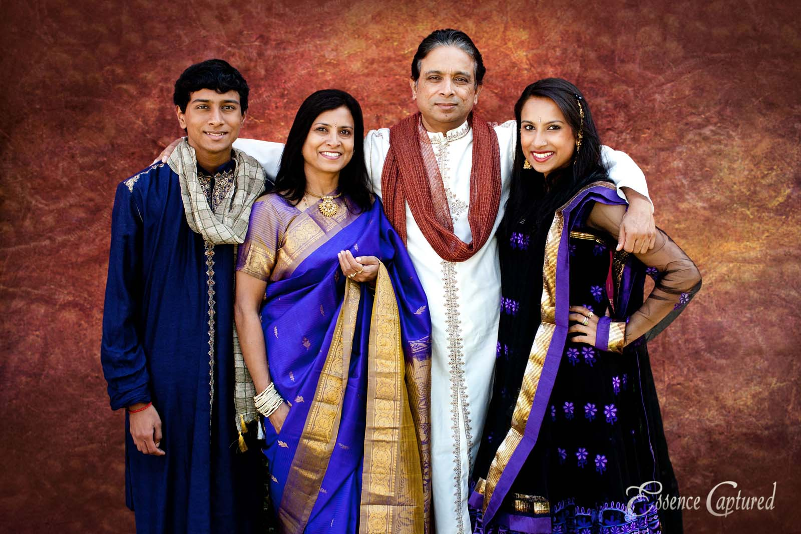Family of 4 portrait Indian Sari formal