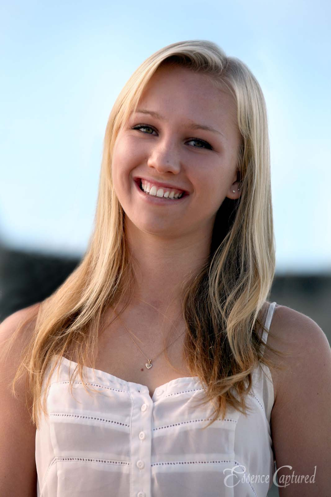 female high school senior portrait long blonde hair