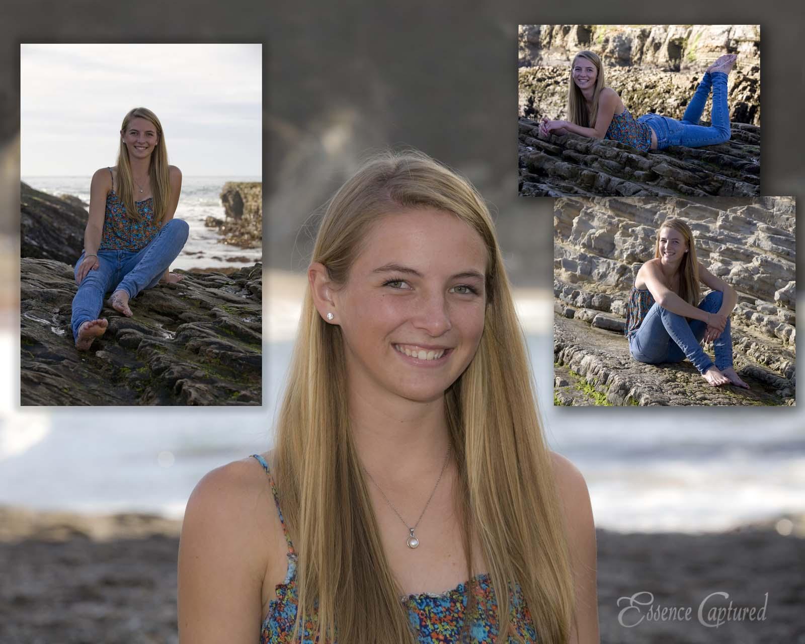 female high school senior portrait long blonde hair beach setting image collage